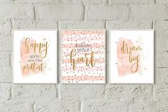 Room decor teen girls nursery wall art set 3 prints pink gold dorm room decor girls bedroom d. Pink Gold Bedroom, Rose Gold Room Decor, Rose Gold Rooms, Gold Bedroom Decor, Girl Bedroom Walls, Teen Room Decor, Girl Room, Bedroom Ideas, Glam Bedroom