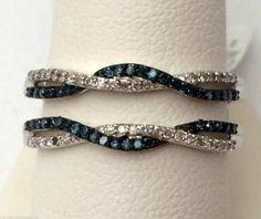 10kt White Gold Wave Design Solitaire Enhancer Blue Diamonds Ring Guard Wrap Jacket (0.50ct. tw)...(RG331477582520).! Price: $485.99 #gold #diamonds #ringguard #wrap #enhancer #fashion #jewelry #love #gift