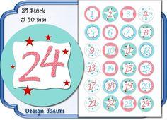 selbstklebende Zahlen Adventskalender rot/türkis von Jasuki auf DaWanda.com