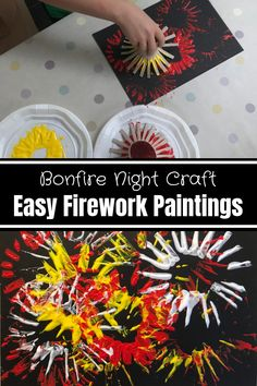 Bonfire Night Craft: Easy Firework Paintings - HodgePodgeDays - - We've been doing some colourful firework paintings. They're really simple to do and great for pre-schoolers, right up to adults. Fireworks Design, Fireworks Art, Wedding Fireworks, 4th Of July Fireworks, How To Draw Fireworks, Fireworks Craft For Kids, Fireworks Wallpaper Iphone, Bonfire Night Treats, Bonfire Parties