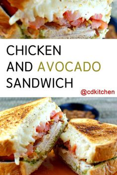 A recipe for Chicken and Avocado Sandwich made with sourdough bread, mayonnaise, avocados, purple onion, Monterey Jack or provolone cheese Chicken Avocado Sandwich, Avocado Sandwich Recipes, Grilled Cheese Avocado, Avocado Toast, Roast Chicken Grill, Roasted Chicken Breast, Onion Chicken, Gourmet Cooking, Top Recipes