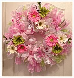Pink Daisy Deco Mesh Wreath/Spring Wreath/Easter Wreath/Pink, Lime and White…