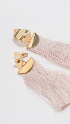 Lizzie Fortunato fringe earrings, with gold-plated brass, a small pearl, and a…
