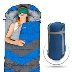 Sleeping Bag - Envelope Lightweight Portable, Waterproof, Comfort With Compression Sack