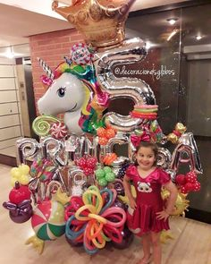 Image may contain: 1 person Balloon Bouquet, Balloon Arch, Balloon Garland, Balloon Decorations, Birthday Decorations, Birthday Party Themes, Large Balloons, Number Balloons, Unicorn Party