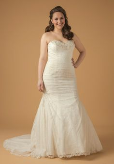 Sweetheart Mermaid Gown in Lace by Dina Davos   Hudson's Bay. #wedding #dress #bride