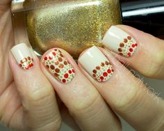 The Nail Network: Dotted Thanksgiving/Autumn Nail Art