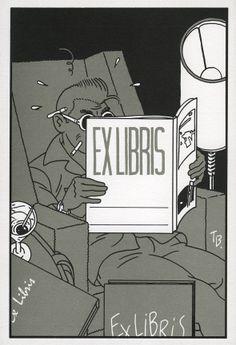 Ex libris pour La peau du léopard de Ted Benoit, édition club du GGEF, Groupement Graphique d'Expression Française, 1985.