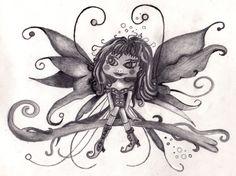Fairy on vine in graphite