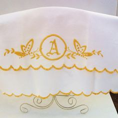 Vintage Dish Towel Retro Kitchen Towels Monogram A by WhimzyThyme, $15.00