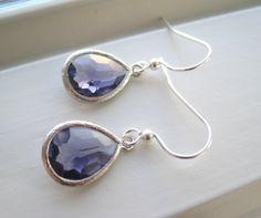 Dark Purple Earrings  Purple Glass Earrings  by Sparkleandswirl, $25.00