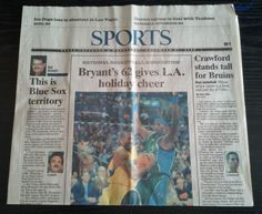 National Basketball Association - Bryant's 62 gives L.A. holiday cheer  #NewsPaper #LosAngelesLakers