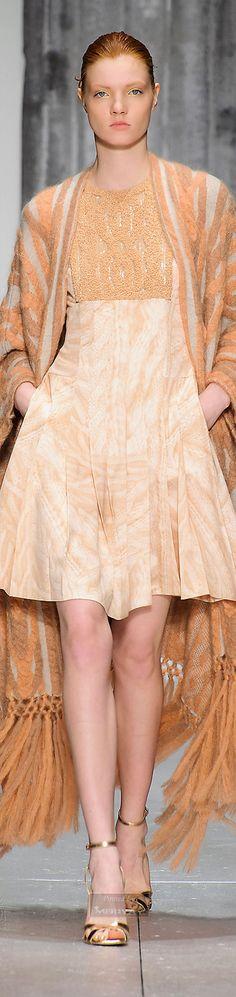 Laura Biagiotti peach colored dress & shawl coat - Fall 2015