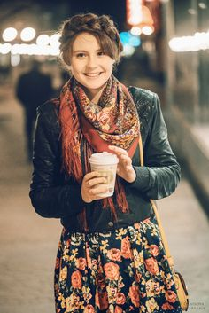 Boho Street Style Inspiration: Printed Skirt + Printed Scarf... accessorized with a smile :) #johnnywas