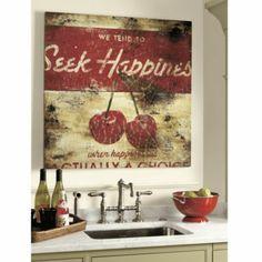 Seek Happiness print by Rodney White-Ballard Designs Kitchen Art, French Kitchen, Red Kitchen, Kitchen Nook, Kitchen Ideas, Buy Furniture Online, Just Dream, Ballard Designs, Living Room Art