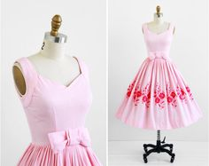 1950's Pink Cotton Pique Party Dress