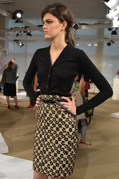 Like the cardigan and belted skirt.  Looks good with a boyfriend sweater worn out and belted at the waist if you have a long torso, or worn a bit lower if you have a short torso.