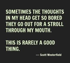 Sometimes the thoughts in my head they go out for a stroll through my mouth. This is rarely a good thing.