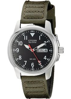 Citizen Men's BM8180-03E Eco-Drive Stainless Steel Watch with Green Canvas Band