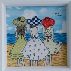 A Day At The Beach is a free-motion machine embroidery by Lillyblossom. The perfect gift to celebrate friendship or sisters. This picture has been created by applying beautiful fabrics to a background of sand sea and sky. All the detail has been added freehand by sewing machine including the tiny buttons on the back of the dresses and hair blowing in the wind. The frame can stand alone or hang on the wall and measures 8 x 8 (23cms). Helen