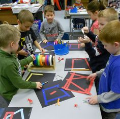 Great focus while making shapes with tape! This and many, many more & shape lessons for kindergarten students. Lessons meet Common Core Geometry Standards in Kindergarten. Fun Math, Math Activities, Math Games, 2d And 3d Shapes, Kindergarten Art, Preschool, Math Classroom, Teaching Math, Math Centers
