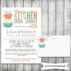 AStitchOfHandmade invitation for a kitchen tea. I like the recipe card idea.
