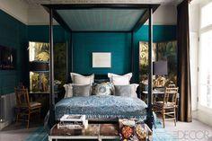 Peacock Blue - Kim Hersov's London home. Elle Decor.