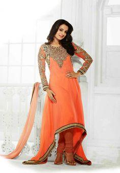 Orange Color Georgette-Santoon Designer Bollywood Anarkali Suit With Pure Georgette Dupatta