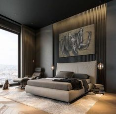 home Interior Dark - Modern Dark Interior Design. Modern Bedroom Design, Master Bedroom Design, Modern House Design, Home Decor Bedroom, Modern Interior Design, Interior Ideas, Bedroom Ideas, Contemporary Bedroom, Bedroom Furniture