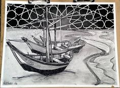 Recreated the vincent van gogh drawings of boats in my own style #charcoal #sharpie #drawing