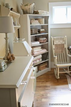 Shabby Chic Baby's Room - lots of great ideas on using flea market finds to decorate a space - Farmhouse 5540