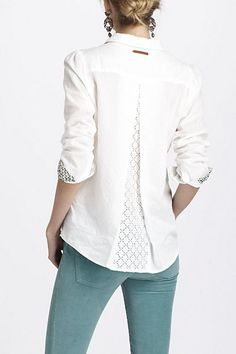 I adore the back of this blouse. Netted Meridian Top - Anthropologie