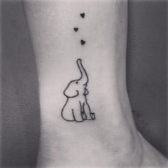 Small Elephant Outline Ankle Tattoo