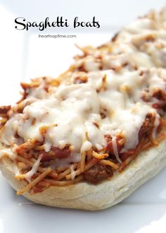 Spaghetti boats ...made with leftover spaghetti and garlic bread! Fun, weird dinner idea!