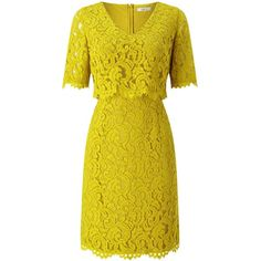 Precis Petite Sasha Lace Layered Dress ($90) ❤ liked on Polyvore featuring dresses, clearance, petite, yellow, shift dress, yellow dress, petite fit and flare dresses, fit and flare dress and lace fit-and-flare dresses