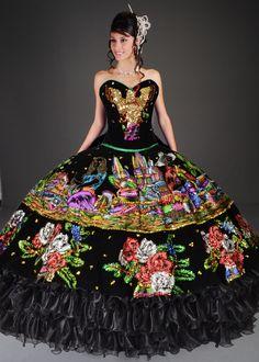 Quinceanera Mall - Charra China Poblana Black Quinceanera Dress