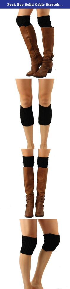 Peek Boo Solid Cable Stretch Knit Boot Cuff Cuffs Liner Topper Leg warmer Black. New Sexy All Season Stretchy Solid Color Chunky Thick Knit Knitted Accent Boot Cuff Boots Cuffs Trim Topper Boot Liner Short Leg warmer The latest and hottest trend! Runway fashion! Great accessory accent piece to finish you outfit. Will make you look and feel sexy and skinny in seconds. Pair off with some sexy pumps or sexy boots. Wear them with low cut boots, high boots, thigh high. Position any way you…