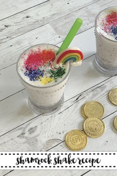 Make this delicious rainbow sprinkled Shamrock Shake with the easy recipe from Everyday Party Magazine #ShamrockShake #StPatricksDay #Recipe
