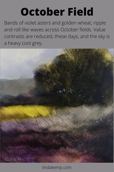 """Bands of violet asters and golden wheat, ripple and roll like waves across October fields. Value contrasts are reduced, these days, and the sky is a heavy cool grey. Acrylic on cradled panel 12"""" x 12"""" x 1.5"""" Fields, Bands, October, Paintings, Sky, Fine Art, Things To Sell, Artist, Artwork"""