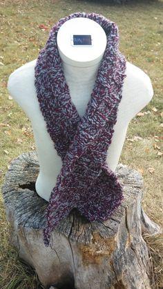 Maroon & Grey Basketweave Knitted Scarf