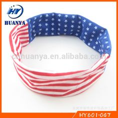 Latest style fancy elstic 4th of July Festive Stars and Stripes American Flag Running Headband