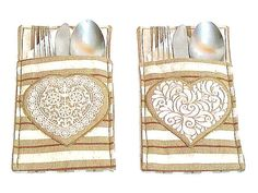 Heart utensil pouch Set of 2  Silverware rustic fabric by SABDECO