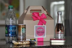 Help your girlfriends survive your bachelorette bash! These personalized GABLE BOXES are the perfect size to hold everything they will need (and