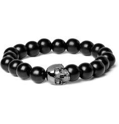 Man in Pink | Ebony & Black Gold Skull mens bracelet | If you...