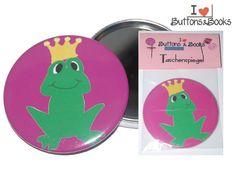 Frosch+Taschenspiegel+Stoff-Handspiegel+59mm+von+Buttons&Books+auf+DaWanda.com