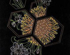 Bead embroidery cross stitch kits ribbon by needlepointkit on Etsy Beaded Cross Stitch, Modern Cross Stitch, Cross Stitch Kits, Cross Stitch Embroidery, Ribbon Embroidery, Embroidery Patterns, Rainbow Roses, Needlepoint Kits, Diy Kits