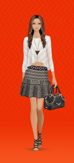 Look styled in Covet Fashion TT Collection Crop Top Karen London Necklace Torn by Ronny Kobo Skirt Botkier Bag Rebecca Minkoff Shoe