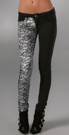 Lace jeans - how hard would this be to do to a pair of jeans..? Nice pants. But the emaciated photoshopped skeleton wearing them is hideously ugly.