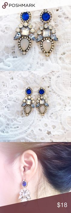 "Blue and blush pink rhinestone earrings MATERIAL: Alloy Crystal Resin SIZE: approximately 5.7"" long Jewelry Earrings"