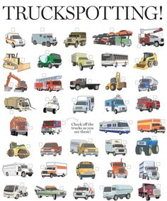 Road Trip Truck Checklist - Kids can look at pictures and check off what they find.